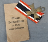 War Merit Cross w/o Swords and Original Envelope